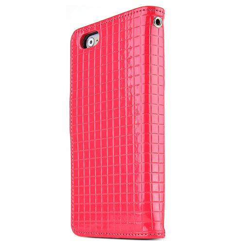 Apple iPhone 6/ 6S Case,  [Hot Pink] Cubic Series Kickstand Feature Luxury Faux Saffiano Leather Front Flip Cover with Built-in Card Slots, Magnetic Flap