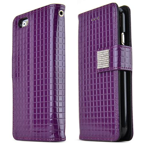 Made for Apple iPhone 6/ 6S Case,  [Purple] Cubic Series Kickstand Feature Luxury Faux Saffiano Leather Front Flip Cover with Built-in Card Slots, Magnetic Flap by Redshield