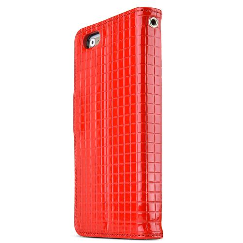 Made for Apple iPhone 6/ 6S Case,  [Red] Cubic Series Kickstand Feature Luxury Faux Saffiano Leather Front Flip Cover with Built-in Card Slots, Magnetic Flap by Redshield