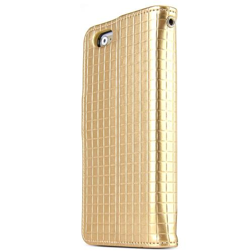 Apple iPhone 6 PLUS/6S PLUS (5.5 inch) Case Cubic Series [Gold] Slim & Protective Flip Cover Diary Case w/ ID Slots