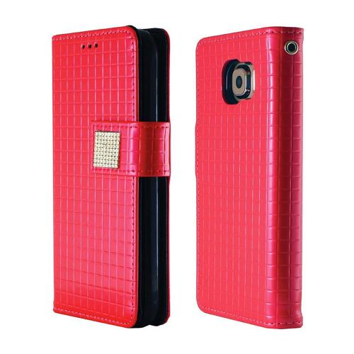 Samsung Galaxy S6 Case,  [Pink] CUBIC Series Kickstand Feature Luxury Faux Saffiano Leather Front Flip Cover with Built-in Card Slots, Magnetic Flap