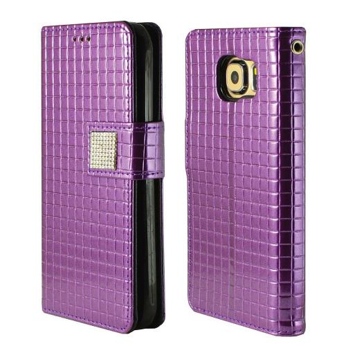 Samsung Galaxy S6 Case,  [Purple] CUBIC Series Kickstand Feature Luxury Faux Saffiano Leather Front Flip Cover with Built-in Card Slots, Magnetic Flap