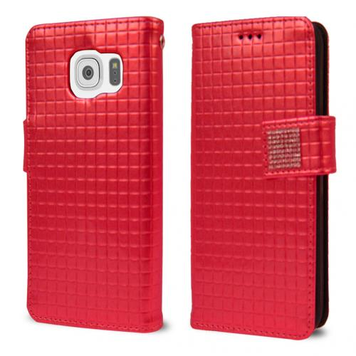 Samsung Galaxy S6 Case,  [Red] CUBIC Series Kickstand Feature Luxury Faux Saffiano Leather Front Flip Cover with Built-in Card Slots, Magnetic Flap