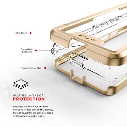 Google Pixel 2 [ION] Case, Triple Layered Shockproof Protection TPU & PC Hybrid Cover w/ Tempered Glass [Gold/ Clear]
