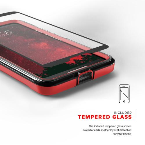 Google Pixel 2 [ION] Case, Triple Layered Shockproof Protection TPU & PC Hybrid Cover w/ Tempered Glass [Red/ Clear]