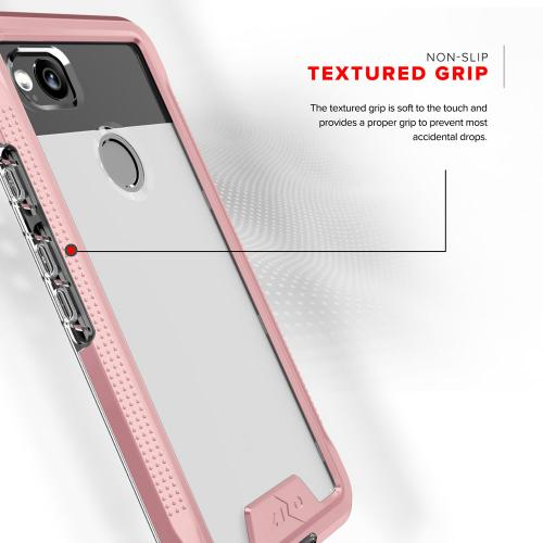 Google Pixel 2 [ION] Case, Triple Layered Shockproof Protection TPU & PC Hybrid Cover w/ Tempered Glass [Rose Gold/ Clear]