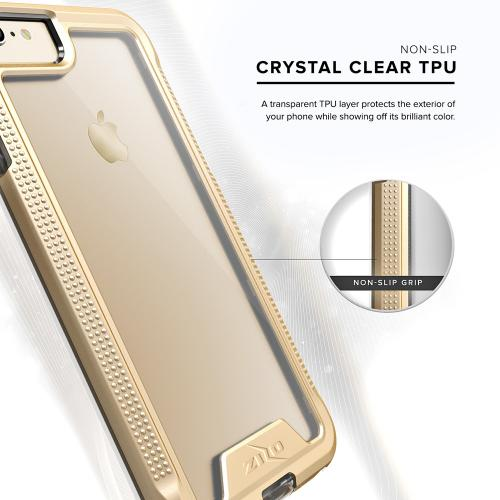 Apple iPhone 8/7/6S/6 Case, ION Single Layered Shockproof Protection TPU & PC Hybrid Cover w/ Tempered Glass [Gold/ Clear]