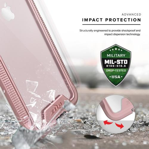 Apple iPhone 8/7/6S/6 Case, ION Single Layered Shockproof Protection TPU & PC Hybrid Cover w/ Tempered Glass [Rose Gold/ Clear]