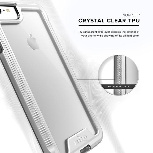 Apple iPhone 8/7/6S/6 Case, ION Single Layered Shockproof Protection TPU & PC Hybrid Cover w/ Tempered Glass [Silver/ Clear]