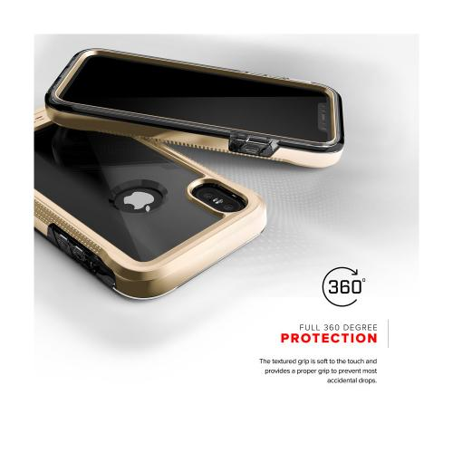 Made for [Apple iPhone X / XS 2018] Case, ION Triple Layered Shockproof Protection TPU PC Hybrid Cover w/ Tempered Glass [Gold/ Clear]