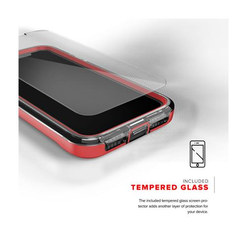 Made for [Apple iPhone X / XS 2018] Case, ION Triple Layered Shockproof Protection TPU PC Hybrid Cover w/ Tempered Glass [Red/ Clear]