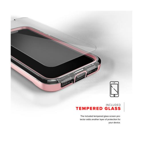 Made for [Apple iPhone X / XS 2018] Case, ION Triple Layered Shockproof Protection TPU PC Hybrid Cover w/ Tempered Glass [Rose Gold/ Clear]