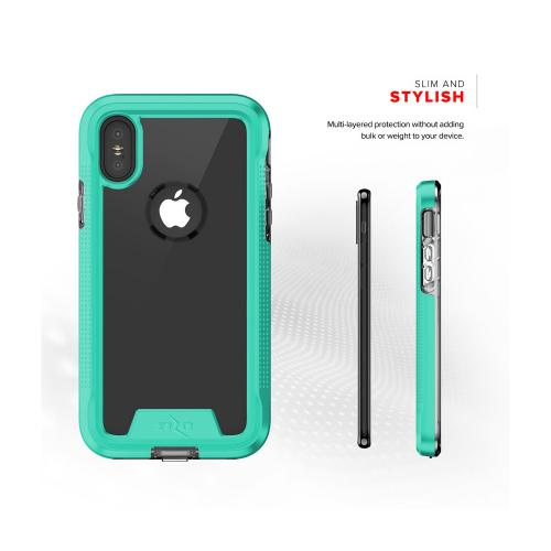 Apple iPhone X Case, ION Triple Layered Shockproof Protection TPU & PC Hybrid Cover w/ Tempered Glass [Mint/ Clear]