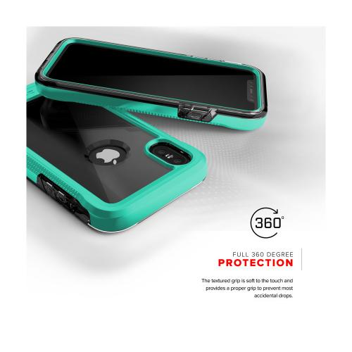 Made for [Apple iPhone X / XS 2018] Case, ION Triple Layered Shockproof Protection TPU PC Hybrid Cover w/ Tempered Glass [Mint/ Clear]
