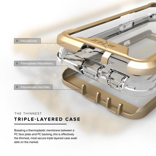 LG X Power Case, ION Single Layered Shockproof Protection TPU & PC Hybrid Cover w/ Tempered Glass [Gold/ Clear]