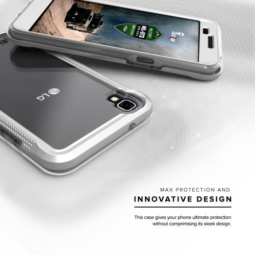LG X Power Case, ION Single Layered Shockproof Protection TPU & PC Hybrid Cover w/ Tempered Glass [Silver/ Clear]