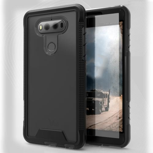 LG V20 Case, ION Single Layered Shockproof Protection TPU & PC Hybrid Cover w/ Tempered Glass [Black/ Smoke]