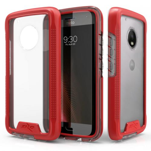 Motorola Moto G5 Plus Case, [ION] Triple Layered Shockproof Protection TPU & PC Hybrid Cover w/ Tempered Glass [Red/ Clear]