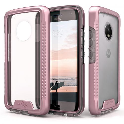 Motorola Moto G5 Plus Case, [ION] Triple Layered Shockproof Protection TPU & PC Hybrid Cover w/ Tempered Glass [Rose Gold/ Clear]