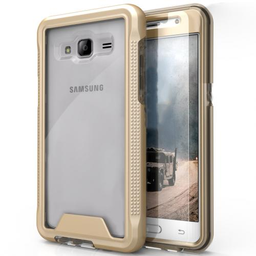 Samsung Galaxy On5 G550 Case, ION Single Layered Shockproof Protection TPU & PC Hybrid Cover w/ Tempered Glass [Gold/ Clear]