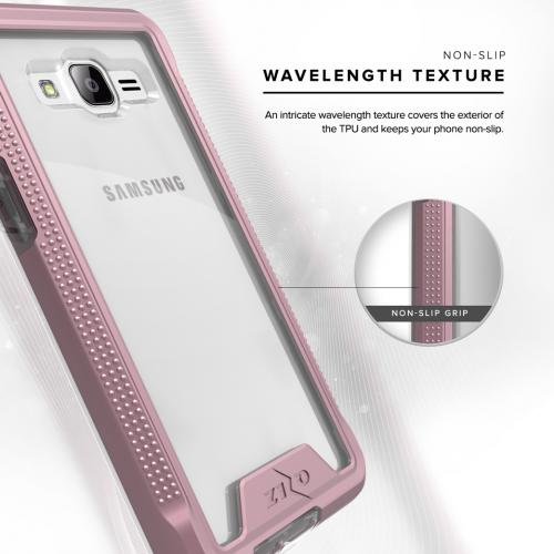 Samsung Galaxy On5 G550 Case, ION Single Layered Shockproof Protection TPU & PC Hybrid Cover w/ Tempered Glass [Rose Gold/ Clear]