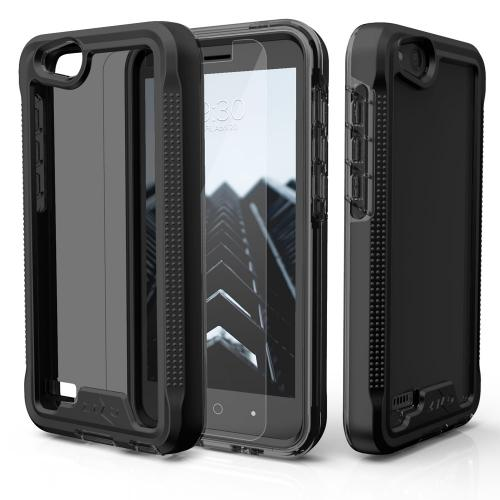 ZTE Tempo X/ Avid 4 Case, [ION] Triple Layered Shockproof Protection TPU & PC Hybrid Cover w/ Tempered Glass [Black/ Smoke]