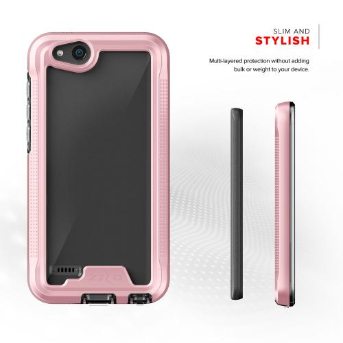 ZTE Tempo X/ Avid 4 Case, ION Triple Layered Shockproof Protection TPU & PC Hybrid Cover w/ Tempered Glass [Rose Gold/ Clear]