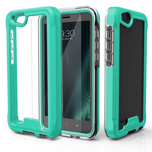 ZTE Tempo X/ Avid 4 Case, ION Triple Layered Shockproof Protection TPU & PC Hybrid Cover w/ Tempered Glass [Mint/ Clear]