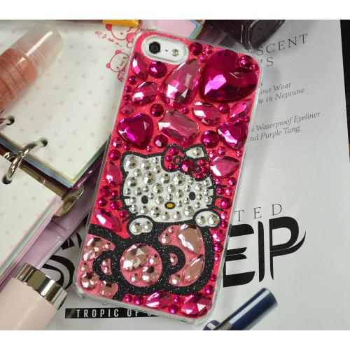 Apple iPhone SE / 5 / 5S Hard Case, Hello Kitty [Bow & Hot Pink Jewels]  Protective Hard Case Cover