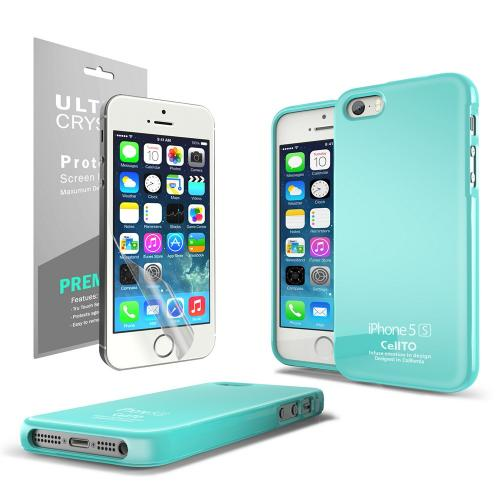 [3 Cases Combo] [Mint/ Green] Apple iPhone SE/5/5S Combo w/ Premium Card Slot Case + Two TPU Crystal Silicone Skin Case