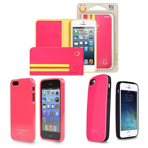 Made for Apple iPhone SE/5/ 5S [3 Cases Combo] [Pink]  Combo w/ Premium Card Slot Case + TPU Crystal Silicone Skin Case + Wallet Case by Redshield