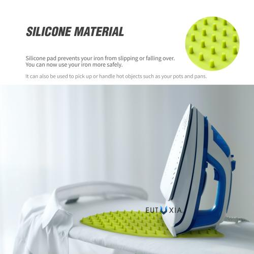 Eutuxia Silicone Rest Pad for Iron. Perfect Combination with Ironing Board and Mat. Hot, Heat Resistant and Universal Fit. Spikes Help Cool Iron Faster While Keeping You Safe. Hang for Easy Storage.