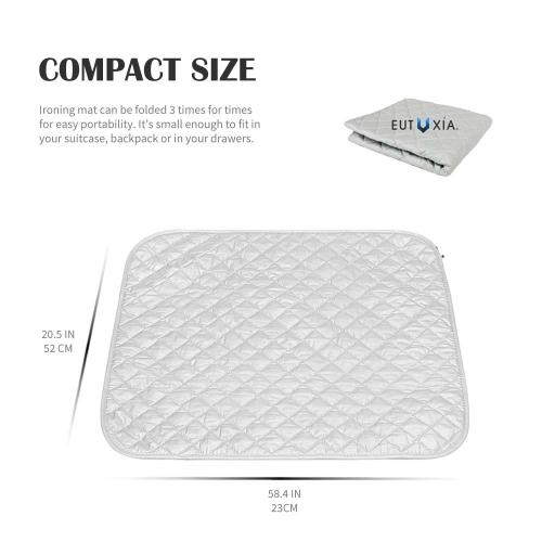 "Eutuxia Ironing Blanket, Mat. Alternative to Iron Board. Quilted, Breathable, Washer and Dryer Safe Heat Resistant Pad with Magnetic Corners. Use on Top of Any Flat Metallic Surface [23"" x 20.5""]"
