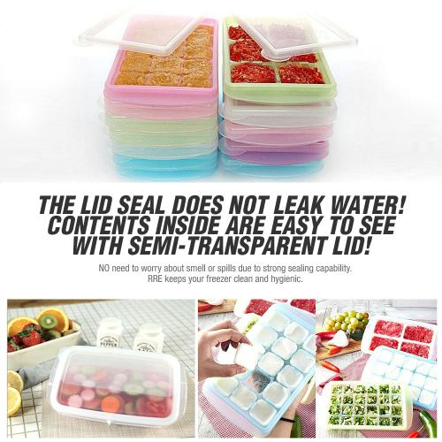 [JM Green] RRe [6 Cell Large] Bento Box Freezer Tray Flexible, Twistable Pop Push Method. BPA Free. Double Sealing Lid Provided. [Baby Blue]