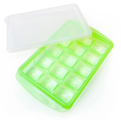 [JM Green] RRe [3x5 Ice Cube Medium] Bento Box Freezer Tray Flexible, Twistable Pop Push Method. BPA Free. Double Sealing Lid Provided. [Light Green]