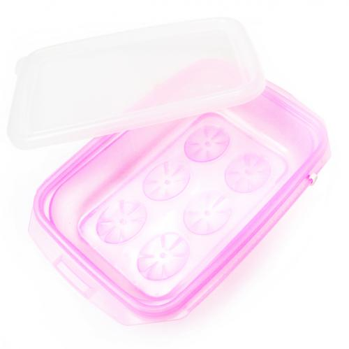 [JM Green] RRePlus Baby Food Freezer Tray [1 cell] with Date Slider. Flexible, Twistable. BPA Free. Wean Babies into Eating Solid Food. Double Sealing Lid Provided. [Baby Pink]