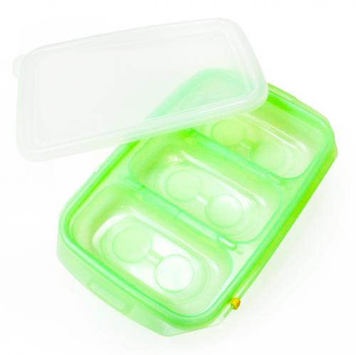[JM Green] RRePlus Baby Food Freezer Tray [3 cell] with Date Slider. Flexible, Twistable. BPA Free. Wean Babies into Eating Solid Food. Double Sealing Lid Provided. [Light Green]