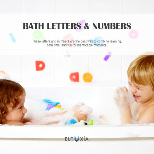 Eutuxia Bath Toys, Mini Alphabet Letters & Number Pieces. Bathtime Fun and Educational Learning for Toddlers, Babies, and Kids. Floats in Water, Sticks on Tile Walls. Safe Non-Toxic EVA Foam. [36 Pcs]