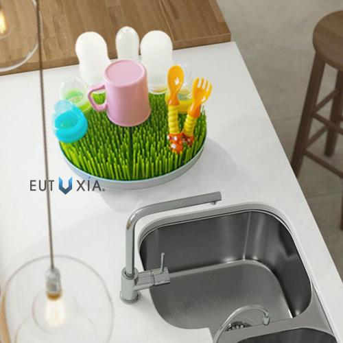 Eutuxia Countertop Grass Drying Rack for Baby Bottles, Dishes, Utensils & Accessories. Sanitary & Anti-Bacterial, Quicker Drying Design with Natural Airflow Drainer Mat. BPA, PVC, and Phthalate Free.