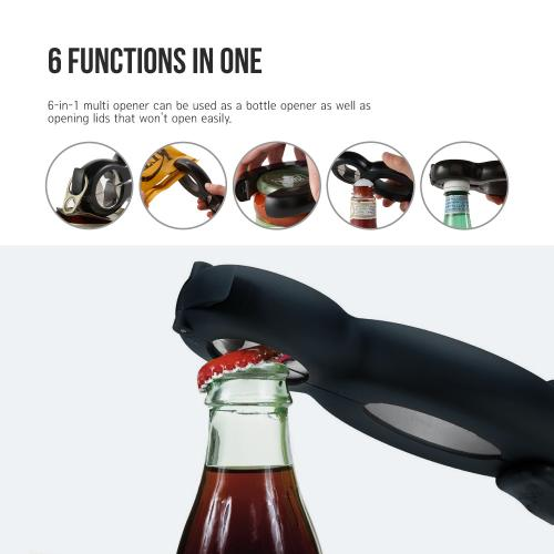 Eutuxia Bottle Opener. Multifunction 6-in-1 Essential Kitchen Tool Features Bottle, Bag & Can Opener, Jar & Lid Twist Off Gripper, and Seal & Lid Remover. Great for Seniors with Rheumatoid Arthritis.