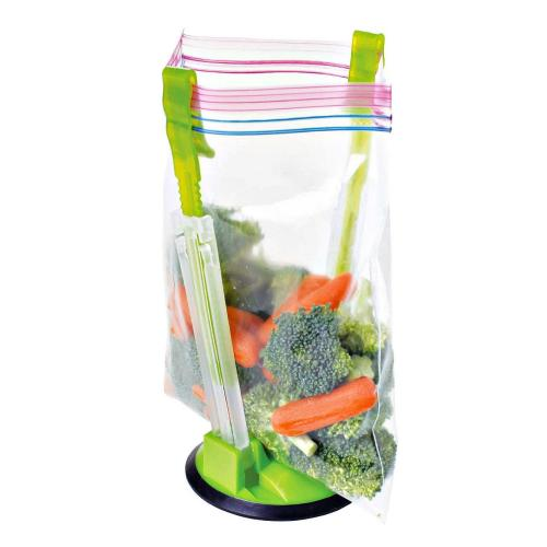 Clip Food Storage Bag On Holder For Easy Transfer