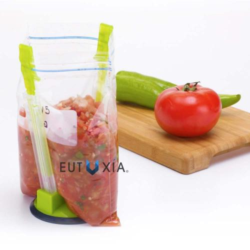 Eutuxia Hands-Free Baggy Rack. Clip Food Storage Bag on Holder for Easy Transfer of Foods & Liquids. Adjustable Arms Fit Most Bags. Hang Baggies for Simple Drying Solution. Kitchen Utensil. [2 PK]