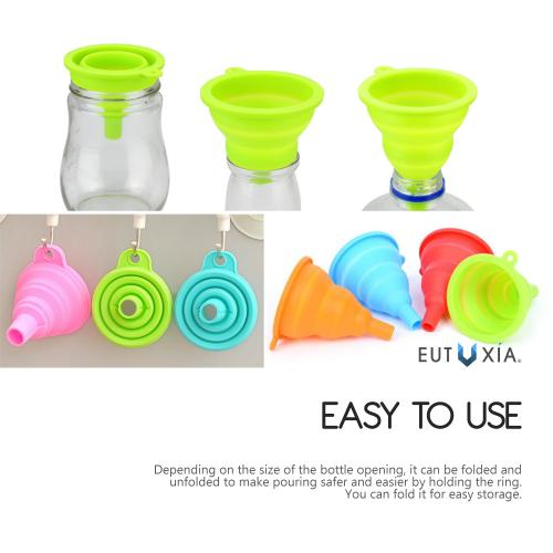 Eutuxia Silicone Funnel. Collapsible, Foldable, and Flexible Mini Kitchen Utensil for Easy Liquid & Powder Transfer to Bottles. Food Grade Material, Dishwasher Safe, Heat Resistant, and BPA Free.