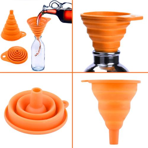 Mini Silicone Foldable Collapsible Style Funnel [Orange]