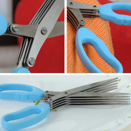 5 Layer Multi-Functional Stainless Steel Kitchen Scissors Cooking Tool [Blue]