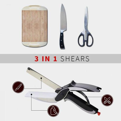 Kitchen Shears With Built-in Cutting Board - Multipurpose Kitchen Scissors - Use Anywhere! [2PK]