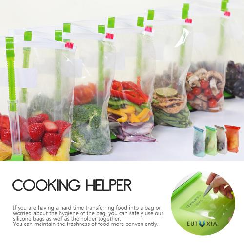 Eutuxia Kitchen Bundle. Hands-Free Baggy Rack with Adjustable Arms and 4 Pack Silicone Food Storage Bags. Transfer & Store Food, Liquid, and Powders Easily with Two Essential Handy Assistants.
