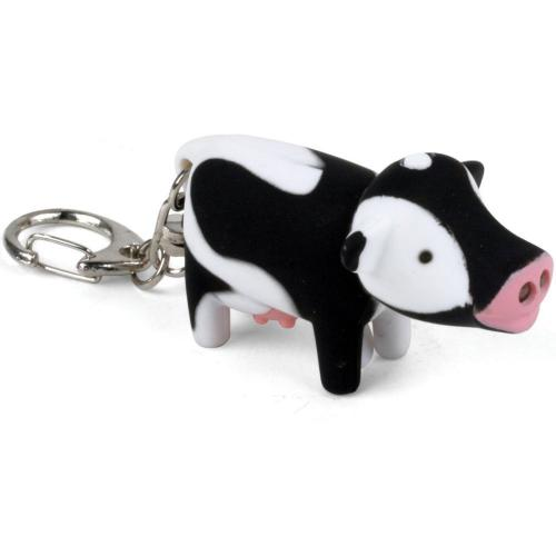 [Kikkerland] Cow LED Light Keychain w/ Sound - Moos Like a Cow!