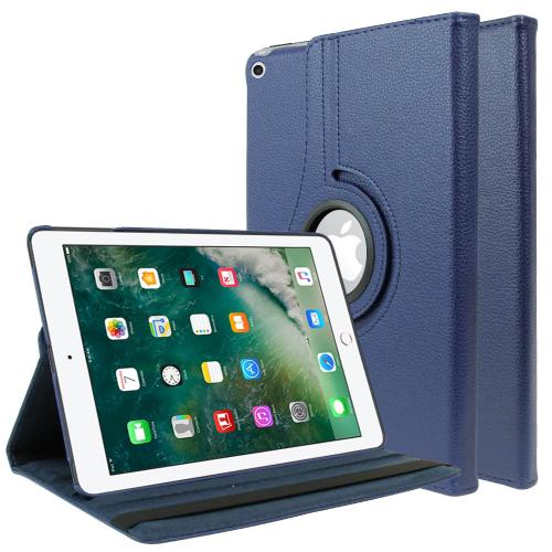 Apple iPad 9.7 inch (2017) Leather Case, [Navy Blue] Slim Protective PU Leather Tablet Hard Case w/ Stand and Rotatable Shield