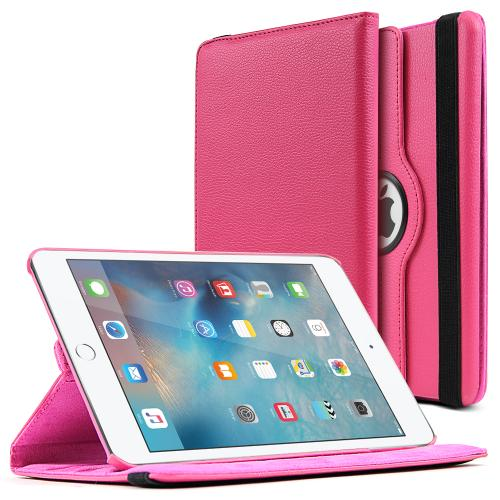 iPad Mini 4 Case [Hot Pink] Slim Protective PU Leather Tablet Case w/ Stand and Rotatable Shield [Perfect Fitting Apple iPad Mini 4 Case]